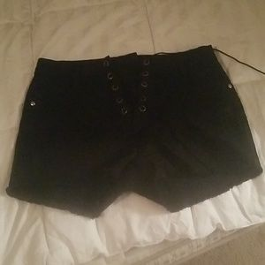 New high rise lace up denim shorts